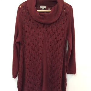 Joseph A Maroon Red Cowl Neck Plus Size 2X Sheer